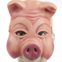 $enCountryForm.capitalKeyWord Australia - Fashion Pig Head Mask Half Face Latex Pig Mask For Adults Stage Performance Props New Year Party Supplies