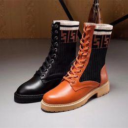 6e54a17ee17 Rockoko combat F bootie stretch fabric inserts non-slip rubber sole sock-like  boot fashion womens winter shoes women martin boots