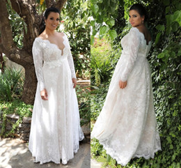 China Garden A-line Empire Waist Lace Wedding Dresses With Long Sleeves Sexy Long Wedding Gowns For Plus Size Wedding Dresses DH391 supplier empire line wedding dresses ivory suppliers