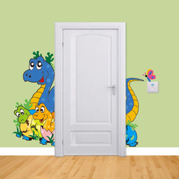 Wallpapers Walls Cartoons Australia - 3D wallpaper cartoon cute dinosaur baby childrens room Boy room wall stickers bedroom living decorative murals