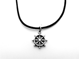 navy pendants NZ - 10pcs Antique silver Seaman Sailor Boat Anchor Rudder Necklace Vintage Nautical Navy Car Steering Wheel Leather Rope Necklaces jewelry