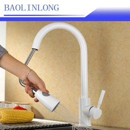 kitchen faucet pull NZ - BAOLINLONG Style Brass Kitchen Faucets Cozinha Swivel Spout Kitchen Sink Pull Out Faucet Tap