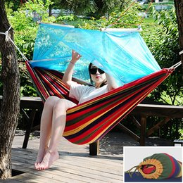 camps hammock swing Canada - 210*150cm Portable 200KG Bearing Hammock With Mosquito Proof Net Camping Picnic Travel Hanging Bed Swing Tent Folded with Storage Bag