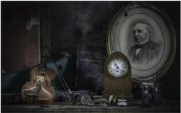 Violin Paintings Australia - Living room home wall decoration fabric poster print painting ancient violin clock camera book Charles Darwin Retro photos