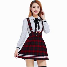b87f280ec0693 Uniforme escolar coreano Girls Navy Sailor Suit For Women Ropa de uniforme  escolar japonés Camisa blanca de algodón + Falda a cuadros correas