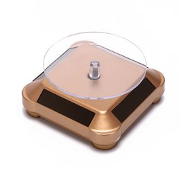 Rings Showcase Australia - Fashion Holder Rack Solar Showcase 360 Turntable for Watch Ring Display Rotating Jewelry Watch Stand Box