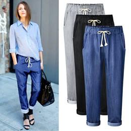 f34e22539438 Wholesale 2018 Autumn New Style Pure Color Casual Jeans Lady Korean Version  Elastic Waist Haren Pants Loose Thin Nine Pants