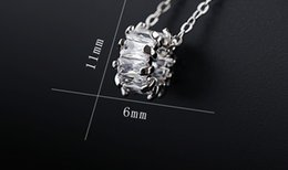 Necklaces Pendants Australia - Transfer cylinder zircon stone clavicular chain short style simple fashion personality necklace for women Platinum zircon pendant Accessorie