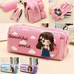 Girls school pencil baG new online shopping - New Cute Beautiful World Canvas Pencil Case Kawaii Girl School Supplies Pencil Bag Pen Bag Pouch Student Stationery