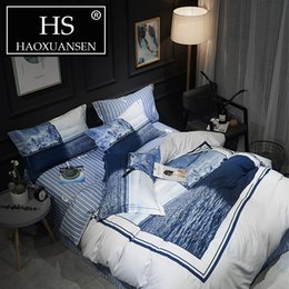 white blue bedding NZ - White Blue 60S Cotton Bed Sheet Duvet Cover Set Comforter Bedding Sets King Size Bedding Set Queen Size Christmas