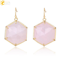 crystal for women Australia - CSJA Pink Stone Hexagon Earrings Natural Gemstone Pendant Dangle Earring for Piercing Ear White Crystal Rock Women Party Jewelry Gift F345