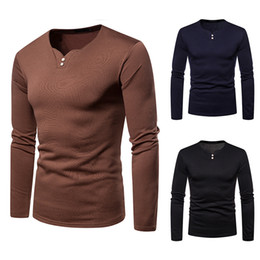 f5425c0e4156 Autumn Shirts New Brands Sweatshirts Men Long Casual Slim Fashion T Shirts V -neck Pullover Sweater High Quality Man Clothes Hot Top Shirts