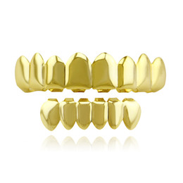 gold grillz for UK - Hot Sale Tooth Braces Tooth Gold Electroplating Fashionable Teeth Grillz Set Teeth Socket Shiny False Teeth for Rapper Hiphop
