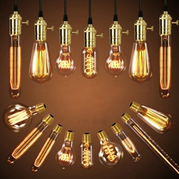 Chinese  40W Retro Lamp Edison Bulb ST64 Vintage Socket DIY Rope Pendant E27 Incandescent Bulb 220V 110V Holiday Lights Filament Lamp Lampada manufacturers