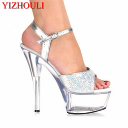 709496b9b35a 2018 Women s Shoes Platform Crystal Shoes Wedding Shoes Shiny Silver  Paillette 15CM Ultra High Heels Sandals · Find Similar
