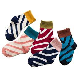 Colorful Infant Socks Australia - 5pairs lot Autumn New Styles Cotton England Colorful Splicing Stripe Newborn Baby Girl Socks Warm Soft Infant Baby Boy Socks