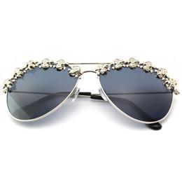 sunglasses skull 2019 - Sunglasses Women Men Skull Aviation Brand Designer Metal Frame Sun Glasses Flat Lens Pilot Hot Dropship cheap sunglasses