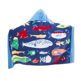 $enCountryForm.capitalKeyWord UK - 1pc Hooded Towel Beach Wrap Children Kids Cotton Poncho Bath Towel Swim Towel Large Quick Dry Cartoon Hooded Bathrobe