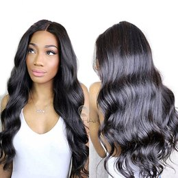 Discount wet wavy malaysian hair - Body Wave Virgin Human Hair Lace Front Wigs for Black Women with Baby Hair Brazilian Wet and Wavy 100% Human Hair Wigs N