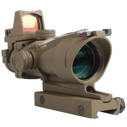 $enCountryForm.capitalKeyWord Australia - Tactical Airsoft ACOG 4X32 Sight Scope Real Red Fiber Source Red Illuminated Rifle Scope w  RMR Micro Red Dot For Hunting Field Sport