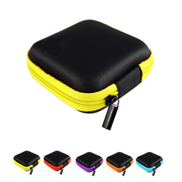 Mini Zipper Hard Headphone Case PU Custodia in pelle per auricolare Custodia protettiva USB Cable Organizer portatile Custodia per auricolari