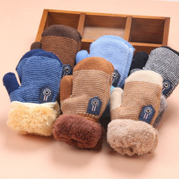 $enCountryForm.capitalKeyWord NZ - Baby Winter Warm Knitted Gloves 6 Colors With Hanging Rope Good Quality For Boys And Girls Size Mittens Wholesale