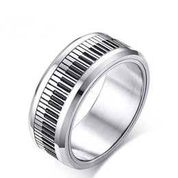 friendship gifts NZ - Rotatable Piano Key Spinner Rings For Men Friendship Stainless Steel Mens Rings Stylish Music Lover Musician Gift Jewelry Ring Size 8-12