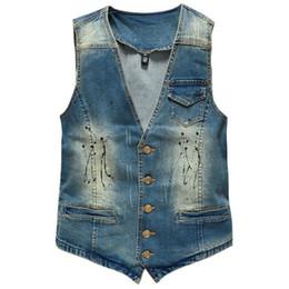 v blue jeans 2019 - Hot Men's Denim Vest Brand Jeans Men Cowboy Vintage Casual Sleeveless Holes Personalized Cardigan Men Jacket discou