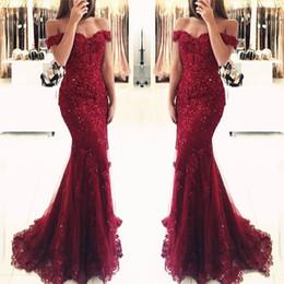 Discount black apple green dress - 2019 Burgundy Lace Mermaid Appliques Off-the-shoulder Prom Dresses Vestido De Festa Beaded Sequins Long Evening Gowns BA
