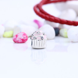 $enCountryForm.capitalKeyWord NZ - Authentic 925 Silver Beads Sweet Cupcake Charms, Light Pink Enamel & Clear CZ Fits European Style Jewelry Bracelets