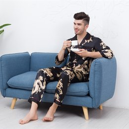 lounge suits 2019 - Rayon Men Pajama Pyjama Set Spring Autumn Long Sleeve 2PCS Sleepwear Dragon Print Nightwear Suit Lounge Male Home Clothe