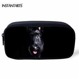 Dog Zipper Australia - INSTANTARTS Kawaii 3D Dog Scottish Terrier Printed Women Cosmetic Cases Boys Girls School Pencil Case Casual Children Pencil Bag