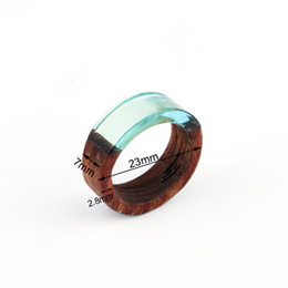 Chinese  1pc Retro Punk Clear Resin Wood Rings For Women Men Jewelry Resin Round Circle Ring Carving Joint Simple Finger Ring Anel r94 manufacturers