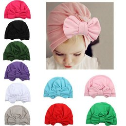 Wholesale Promotion Unisex Cute Baby Soft Silky Hedging Caps with Big Bows Autumn Winter Warm Kid Cap Newborn Hat Mixed Colors