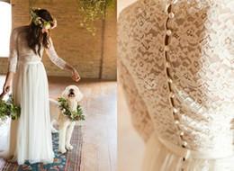 $enCountryForm.capitalKeyWord Australia - Vintage Lace Long Sleeve Boho Beach Wedding Dresses 2017 Custom Make Muslim Full length Cheap Plus Size Wedding Bridal Gowns
