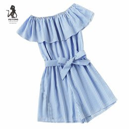 a704b9d4f143 Jumpsuits for women 2017 new arrival Striped Nylon rompers women jumpsuit  shorts pius size One word shoulder playsuit women LRSO