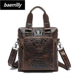 b81d3ac8a818 Сумка из натуральной кожи крокодила Мужская сумка из натуральной кожи  Мужские сумки через плечо Мужские дорожные сумки на ремне Tote ipad  Портфели Сумочка