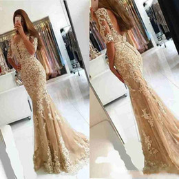 Modest Lace Applique Mermaid Evening Dresses Half Sleeve Celebrity African  Arabic Dubai Long Party Prom Dresses Gowns Formal Robe De Soiree 94d1800a3d03