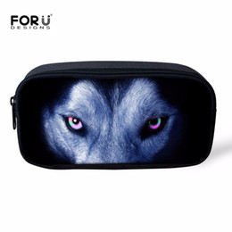 Chinese  FORUDESIGNS Wolf Pencil Case For Boys School Pen Box Storage Pouch Women's Travel Make Up Bag Cool Animal Printing Storage Bag manufacturers