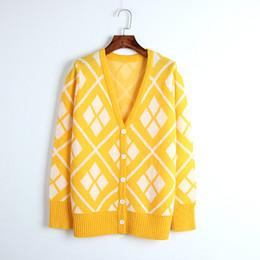 $enCountryForm.capitalKeyWord UK - 2018 New Autumn Knit Sweater Women Luxury Runway Design Single Breasted Plaid Pocket Casual Knitwear Coat Jumper Cardigan Female