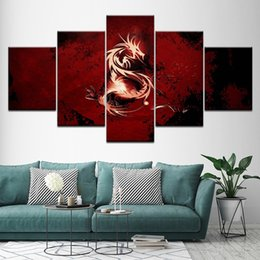 $enCountryForm.capitalKeyWord Australia - HD Printed Red Dragon Symbol Painting 5 Pieces Group Painting Home Decor Anime Poster Wall Art Canvas Gift Painting (No Frame)