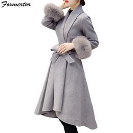 5c843f194e5 Brand Elegant Slim Women Winter Wool Blend Coat Autumn Winter Long Wool Coat  and Jacket Solid Detachable Fur Outerwear Plus Size D18110702