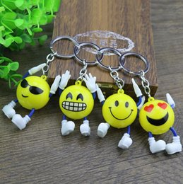face dolls 2019 - Newest Emoji Keychains Smiley Small Doll Pendant Cartoon Plastic Key Ring Yellow Expression Toy Christmas Gift Pendant B