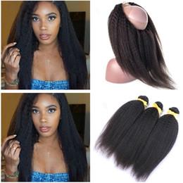 Bundle Kinky Straight Human Hair Australia - Kinky Straight Brazilian Human Hair Bundles with 360 Lace Frontal Pre Plucked Coarse Yaki Virgin Hair Weaves with 360 Full Lace Closure