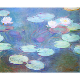 Chinese  Hand painted canvas art Claude Monet Paintings Water Lilies, Pink for wall decor manufacturers