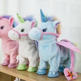 wholesale music plush toys NZ - Electric Unicorn Plush Doll Toys Walking Stuffed Animal horse Toy Electronic Music Singing pony Toy kids Christmas Novelty gift GGA1262-1