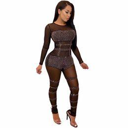 7baf39c810 2018 Bodycon Sexy Jumpsuit Bodysuit Transparent Stretch O Neck Party Black  Gold Sequin Diamond Mesh Womens Rompers Jumpsuit