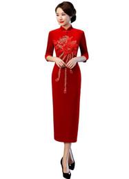 5a0cd7cfe Xangai história oriental dress estilo chinês dress longo veludo cheongsam  flor bordado qipao chinês das mulheres