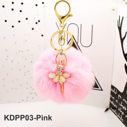 Crystal Clear Phone Cases NZ - Dancer Real Rabbit Fur Keychain Crystal Leather Ball Gold Key Chains Balls Poms Pendant Plush Car Keyring Phone Case Bag Jewelry Accessaries