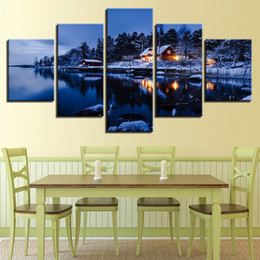 painting lake house 2020 - Canvas HD Prints Paintings Home Decor Pictures 5 Pieces House Snow Lake Night Landscape Posters Living Room Wall Art Fra